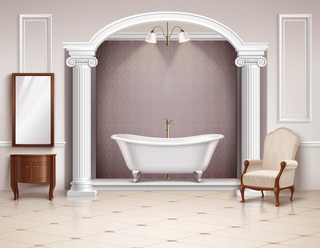 ビクトリア朝の列の家具と美しい豪華なバスルームのインテリアと 無料ベクター