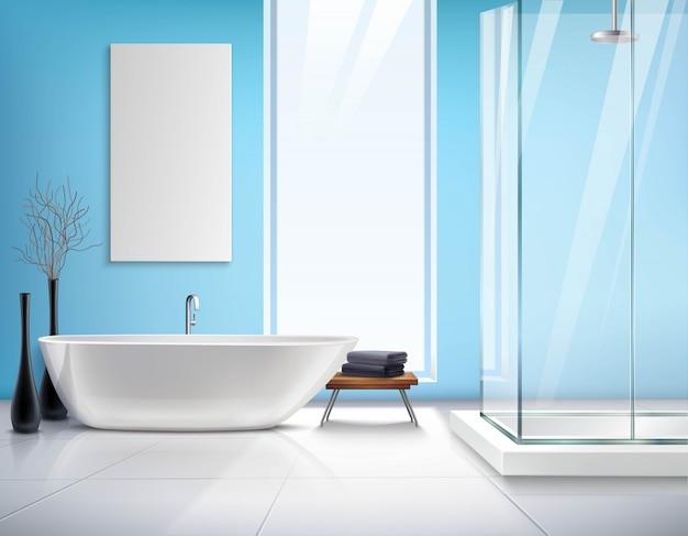 リアルなバスルームのインテリアデザイン 無料ベクター
