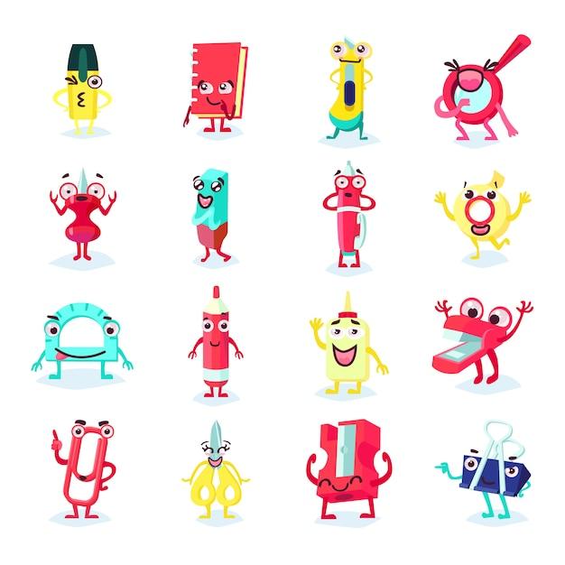 Канцелярские товары забавная плоская коллекция с различными улыбающимися инструментами, аксессуарами и аксессуарами Бесплатные векторы
