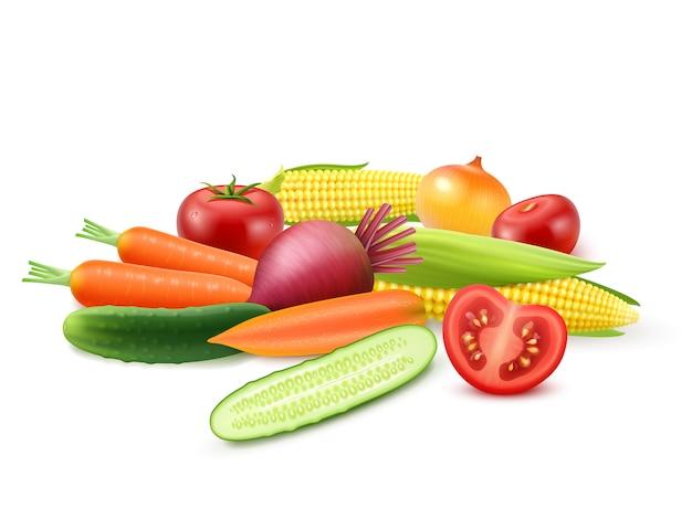 カラフルな新鮮野菜のテンプレート 無料ベクター