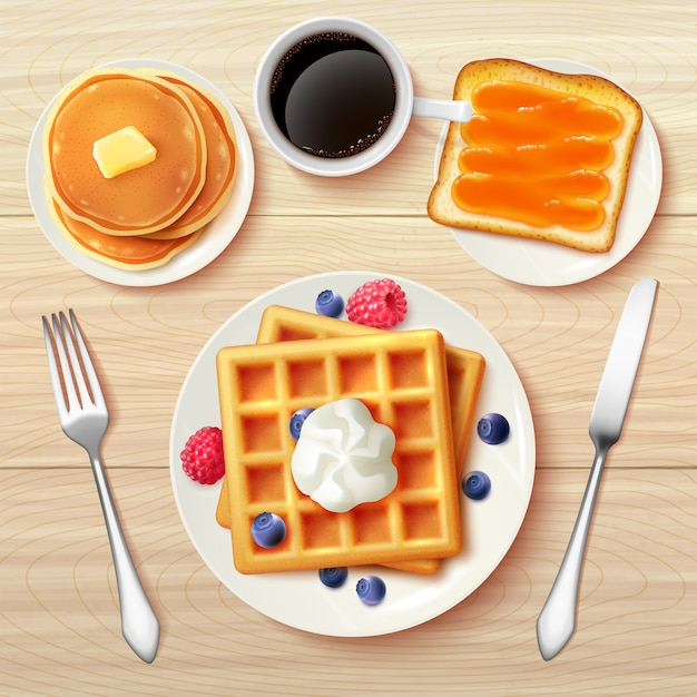 古典的な朝食トップビューリアルな画像 無料ベクター