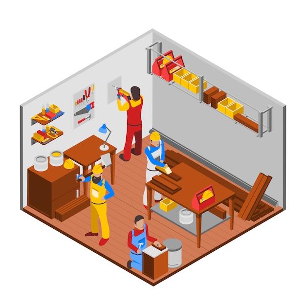 木工ワークショップコンセプト 無料ベクター