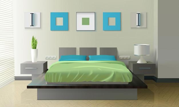 Современная спальня реалистичный дизайн Бесплатные векторы