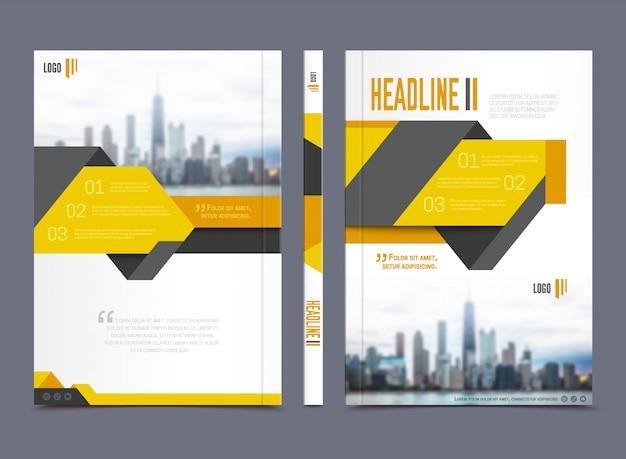 灰色の背景の平らな分離ベクトルイラストの見出しを持つアニュアルレポートパンフレットデザイン 無料ベクター