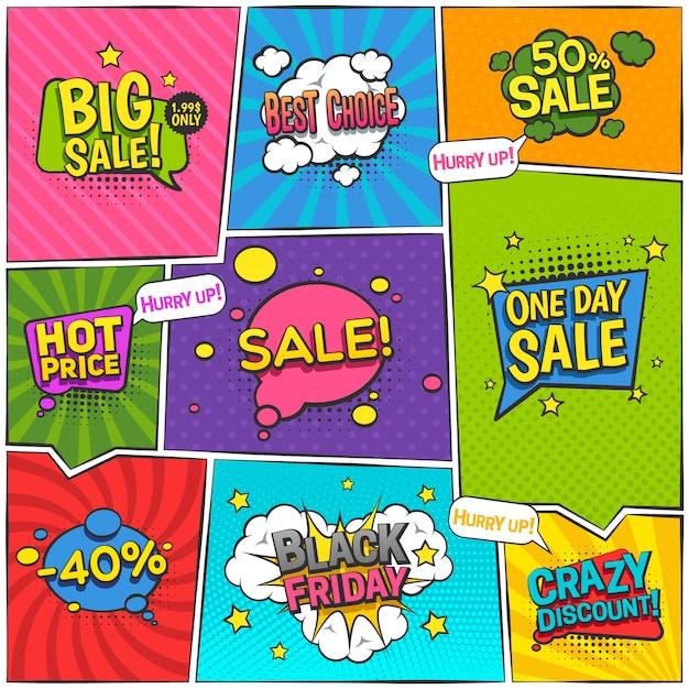 Продажа комиксов дизайн страницы со скидкой символы плоских векторных иллюстраций Бесплатные векторы
