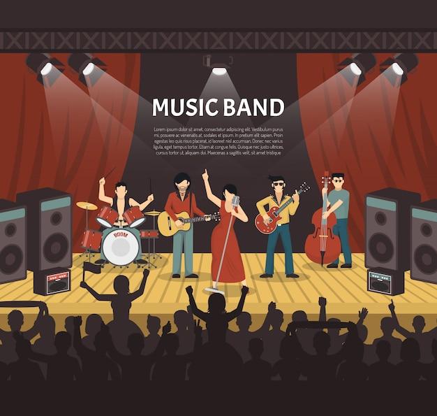 ポップミュージックバンドのベクトル図 無料ベクター