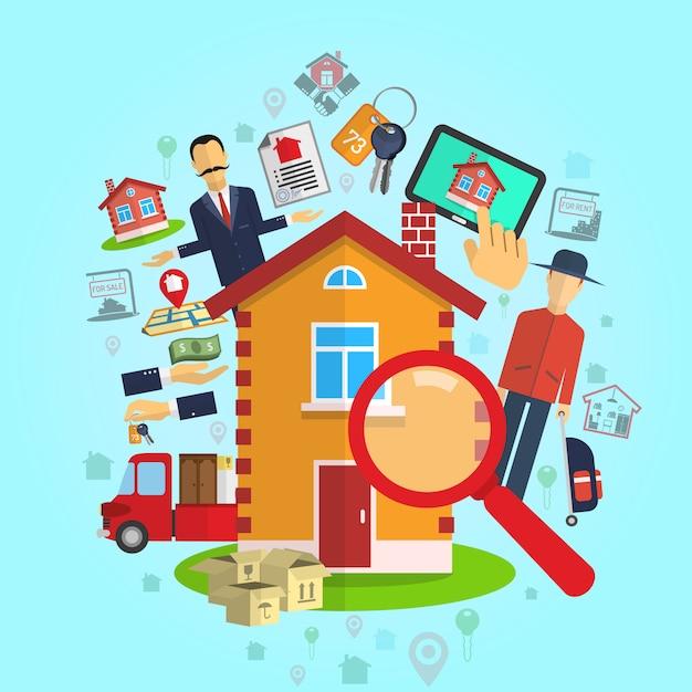 Концепция недвижимости Бесплатные векторы