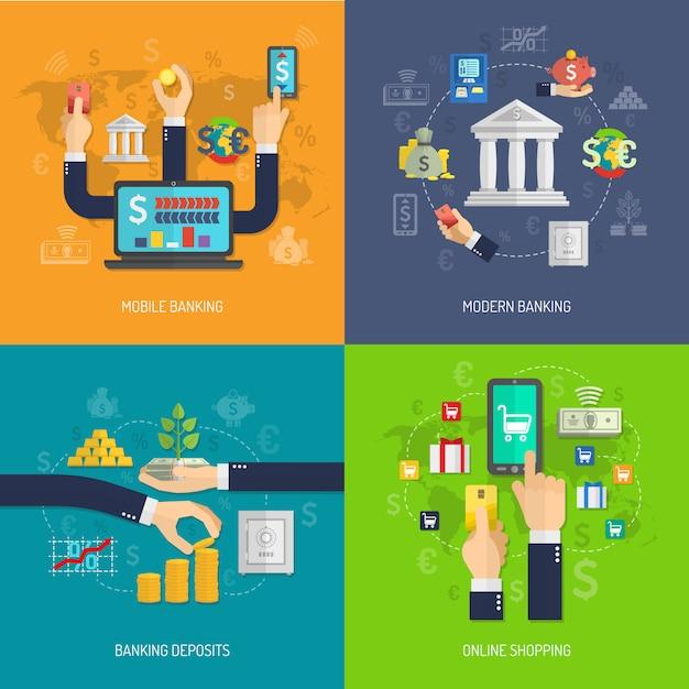 Концепция банковского дизайна Бесплатные векторы