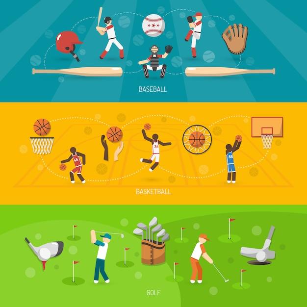 Спортивный баннер горизонтальный набор Бесплатные векторы