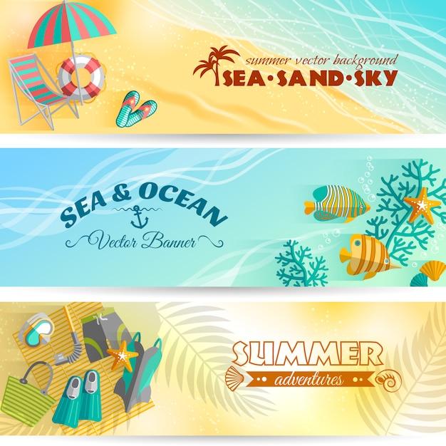 Морской пляж, летний отдых, приключения, горизонтальные баннеры с аксессуарами для плавания и дайвинга. Бесплатные векторы