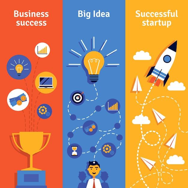 Бизнес-концепция вертикальные баннеры Бесплатные векторы