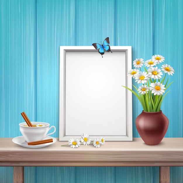 カップ花瓶の花と現実的なスタイルの蝶ライトフレームモックアップ 無料ベクター