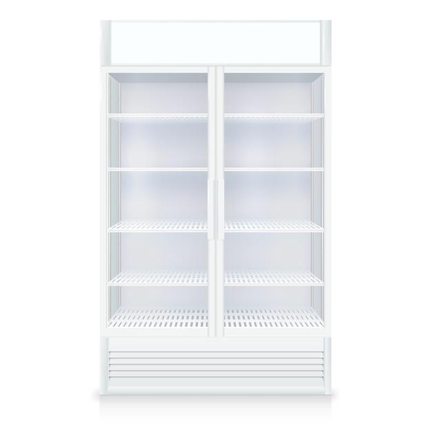 透明なドアと棚の白い色で現実的な空の冷凍庫 無料ベクター
