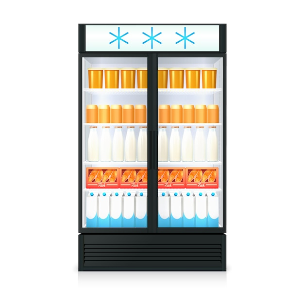 Реалистичный шаблон морозильника с коробками для бутылок с напитками и стеклянной дверью Бесплатные векторы