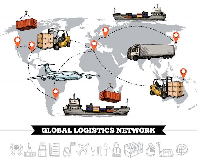 世界物流ネットワークテンプレート 無料ベクター