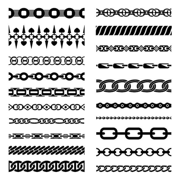 Коллекция горизонтальных цепочек Бесплатные векторы