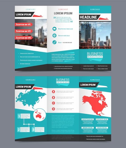 三つ折りチラシテンプレート - ユニバーサルビジネスレポートデザイン 無料ベクター