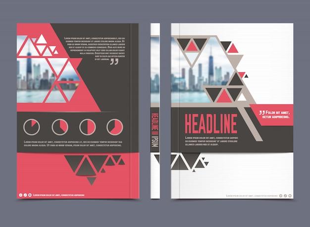年次報告書のパンフレットの型板と普遍的な紙ビジネスのレイアウト 無料ベクター