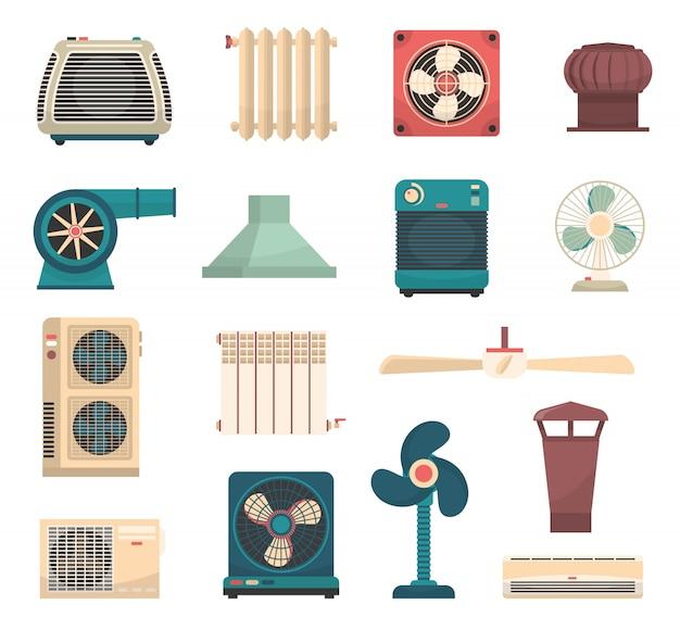 Комплект систем отопления и кондиционирования Бесплатные векторы