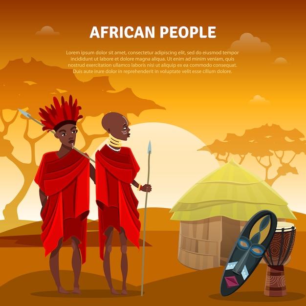 アフリカの人々と文化フラットポスター 無料ベクター