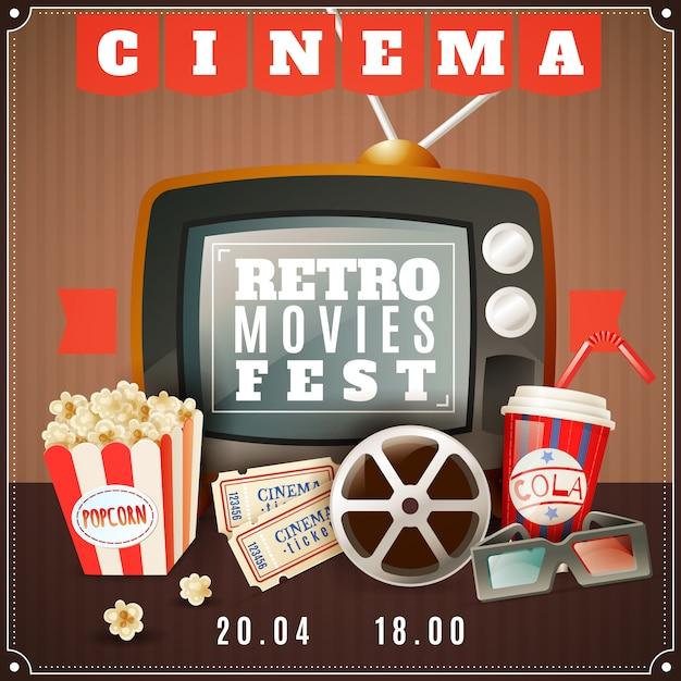 Афиша кино ретро кино фестиваль Бесплатные векторы