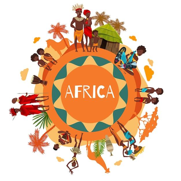 アフリカ文化のシンボルラウンド構成ポスター 無料ベクター