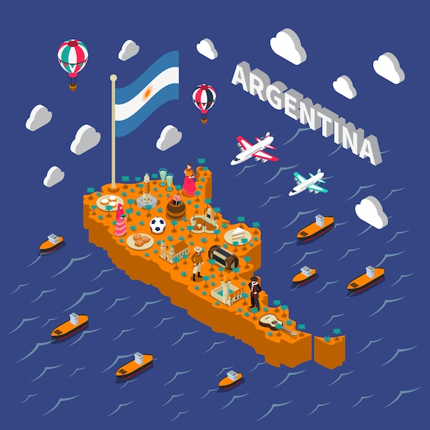 アルゼンチンの観光名所等尺性地図ポスター 無料ベクター