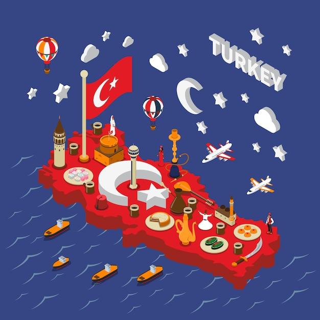 Турция туристические достопримечательности изометрические карта плакат Бесплатные векторы