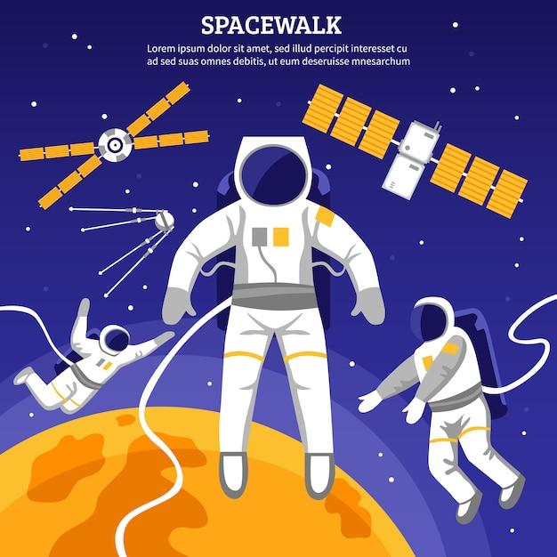 Иллюстрация плоских космонавтов Бесплатные векторы
