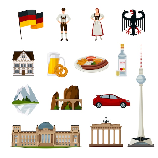 Германия плоская коллекция икон Бесплатные векторы