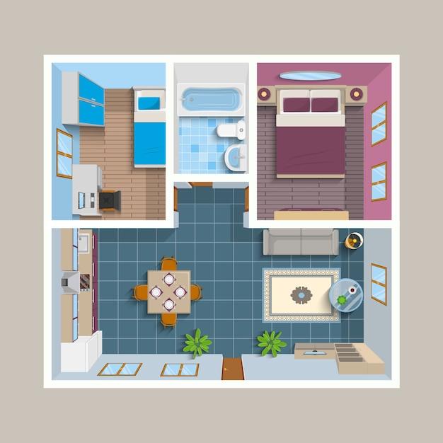 フラット建築計画平面図位置 無料ベクター