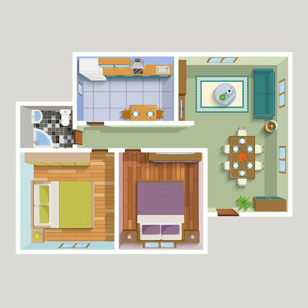 平面図アパートインテリア詳細図 無料ベクター