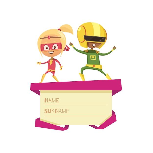 ギフト用の箱の蓋の上で踊るスーパーヒーローとして服を着た子供たち 無料ベクター