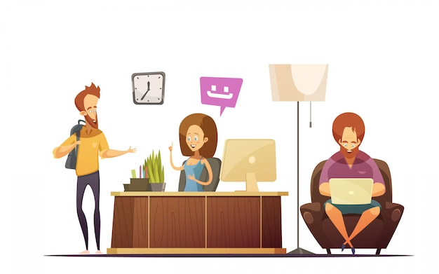 管理者の話とホステルレセプション漫画デザインコンセプト 無料ベクター