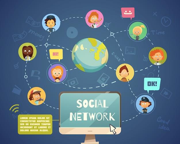 漫画で設計された子供のアバターアイコンを持つさまざまな職業のソーシャルネットワーキングの人々のグループ 無料ベクター