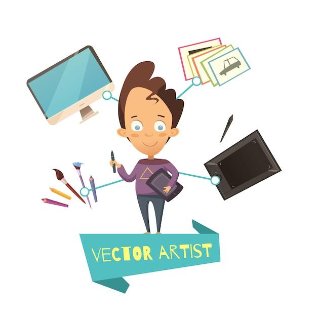 Иллюстрация вектора художника профессии для детей в мультяшном стиле Бесплатные векторы