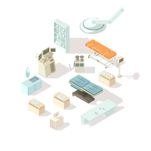 Изометрические набор для больничного оборудования Бесплатные векторы