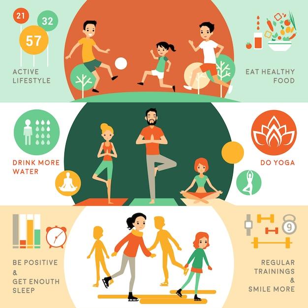 Активный здоровый образ жизни горизонтальные баннеры Бесплатные векторы