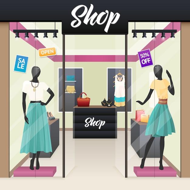 女性ファッションショップ販売ウィンドウ表示 無料ベクター