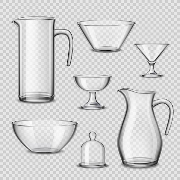 Реалистичная посуда кухонная утварь прозрачный фон Бесплатные векторы