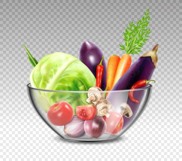 Реалистичные овощи в стеклянной миске Бесплатные векторы