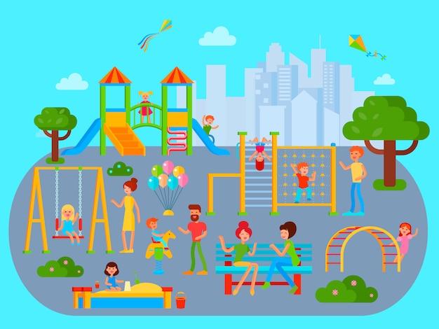 フラットシティ都市景観と遊び場組成 無料ベクター