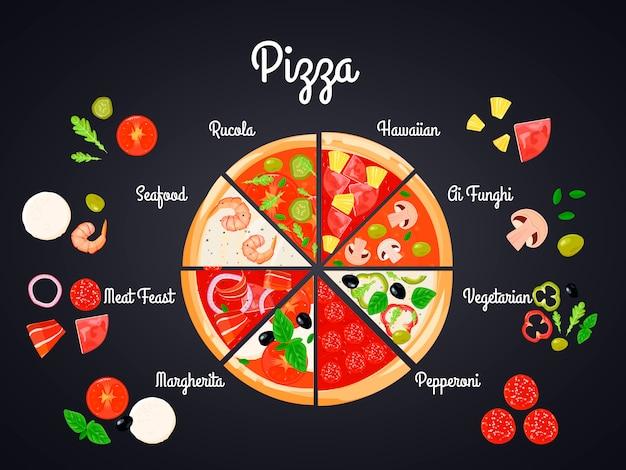 フラット画像でピザの概念的な構成を作成する 無料ベクター