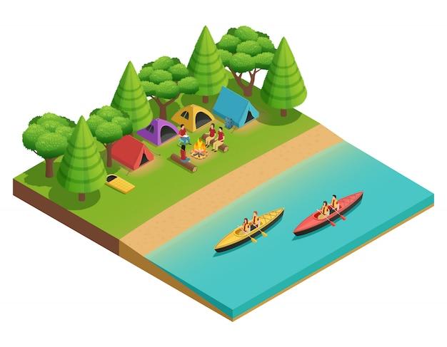 Кемпинг туризм изометрической композиции с палаткой на озере и туристов на лодках векторная иллюстрация Бесплатные векторы