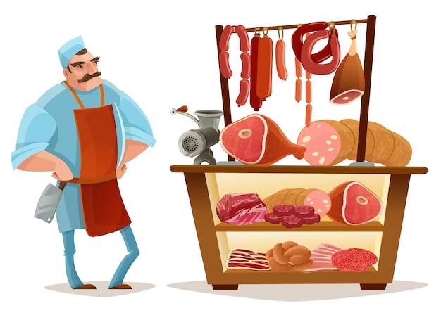 肉屋の漫画のコンセプト 無料ベクター