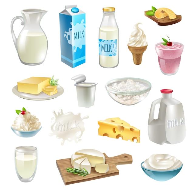 牛乳製品のアイコンを設定 無料ベクター