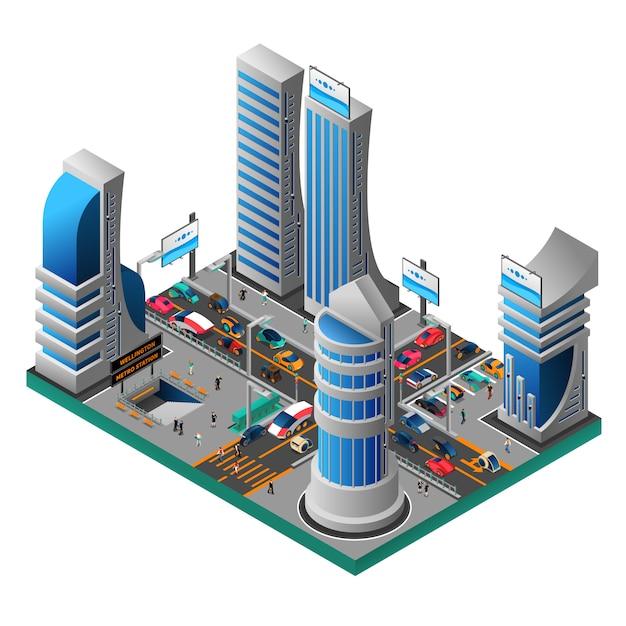 未来の都市等尺性テンプレート 無料ベクター