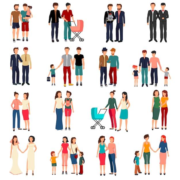 男性と女性の同性愛者カップルと白いれたら上に分離されて子供を持つ家族のフラットセット 無料ベクター