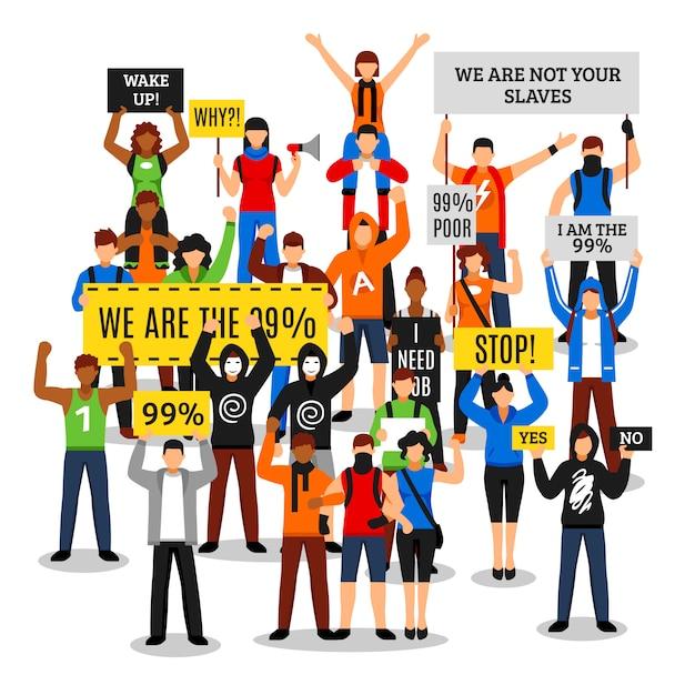 抗議する群衆の顔のない構図 無料ベクター