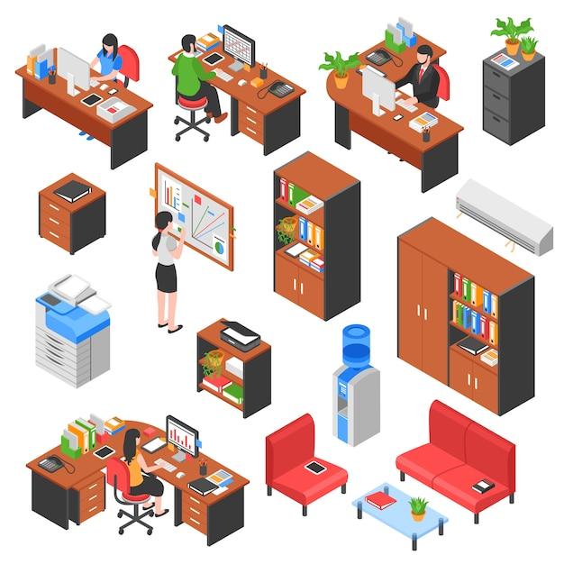 等尺性のオフィス要素セット 無料ベクター
